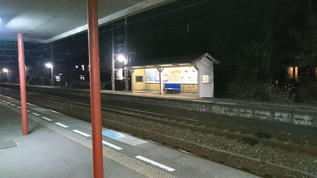JR粟井駅 夜