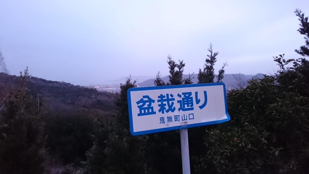 根香寺からの山下り道 盆栽通り 看板