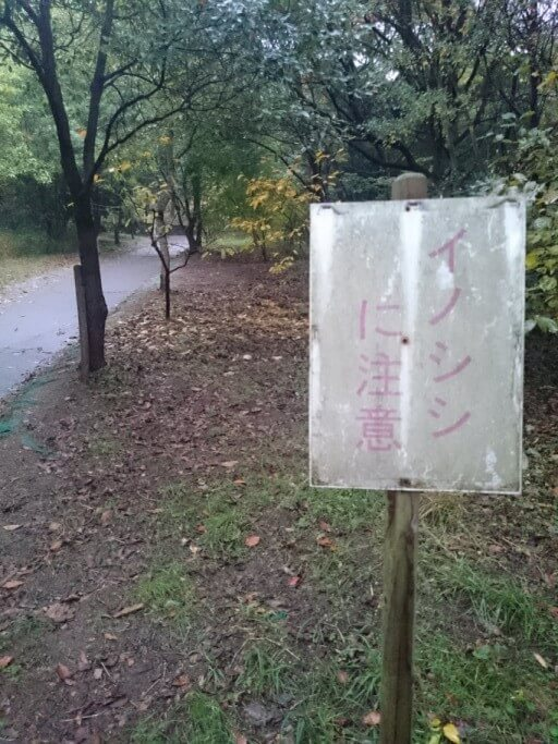 屋島寺への遍路道 イノシシに注意看板