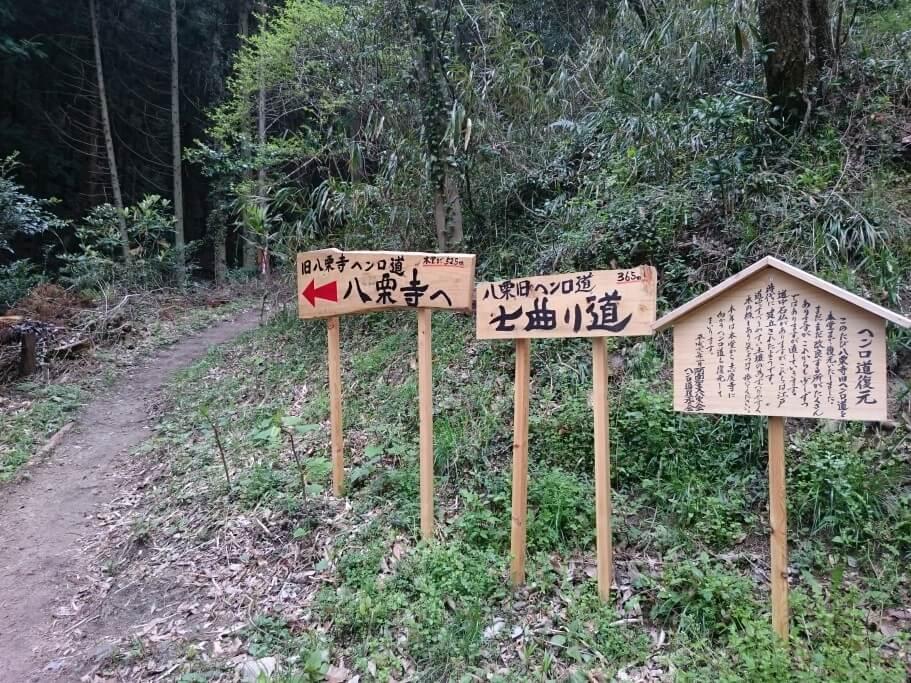 八栗寺への遍路道 七曲り道入口 立て看板