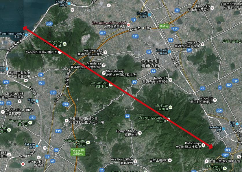 津島神社から金比羅山のレイライン
