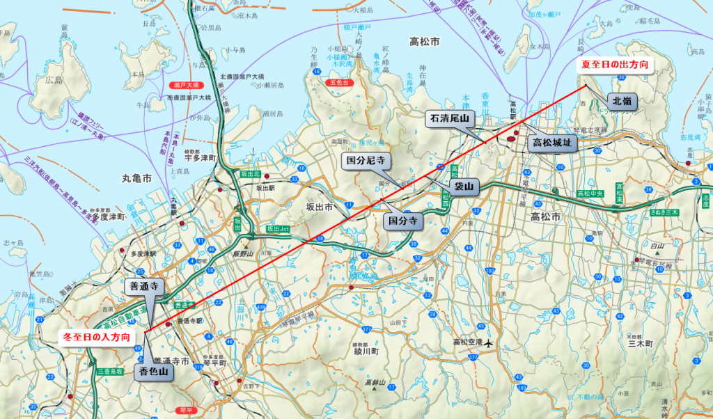 讃岐レイラインの基本ライン(香色山から屋島北嶺)