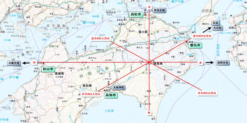 剣山を中心とした四国四市の配置