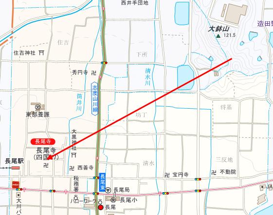 長尾寺と大鉢山の位置関係