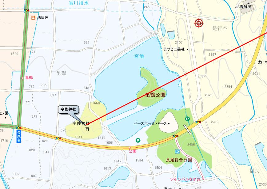 宇佐神社と亀島をつなぐ中土手の方向