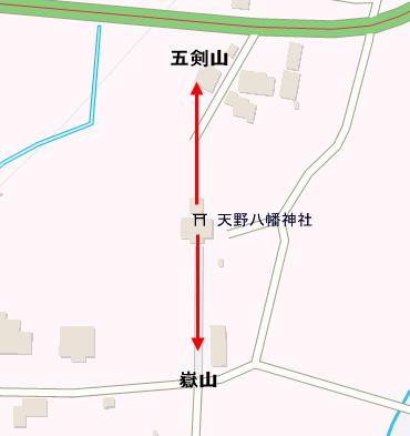 天野八幡神社 五剣山と嶽山レイライン