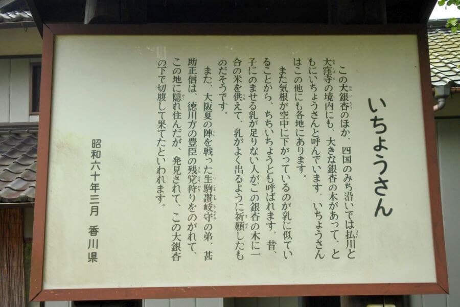 阿讃県境 大銀杏 香川県案内看板