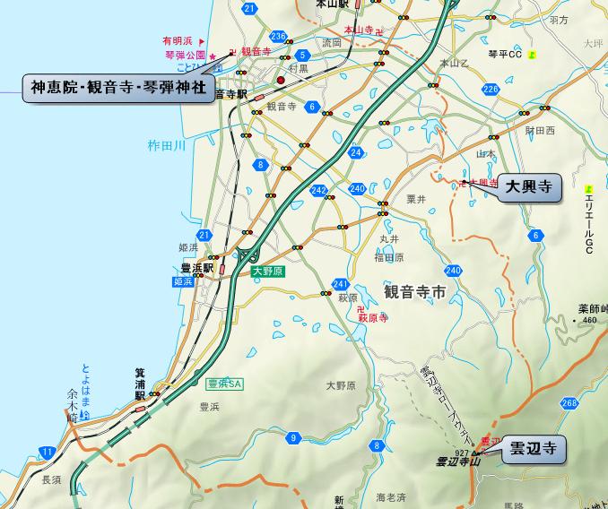 観音寺市 札所位置図