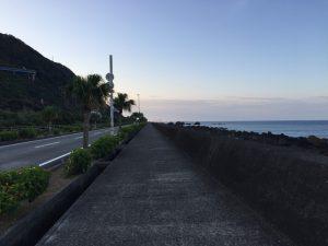 早朝の室戸岬道路