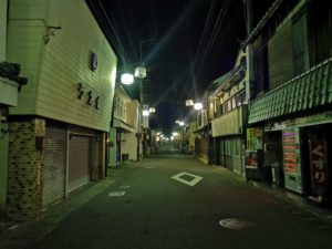 ミニベロ遍路 内子の夜の商店街