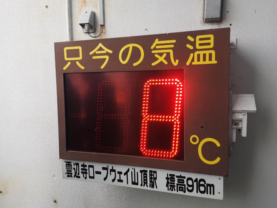 ミニベロ遍路 雲辺寺山頂の気温