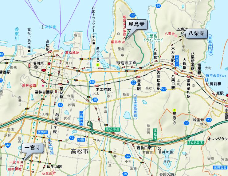 レイライン 高松市エリア 地図
