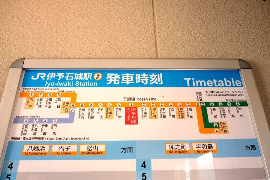 伊予石城駅 駅名標